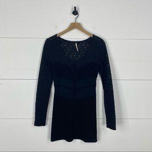 Free People Black Lace Long Sleeve Mini Dress